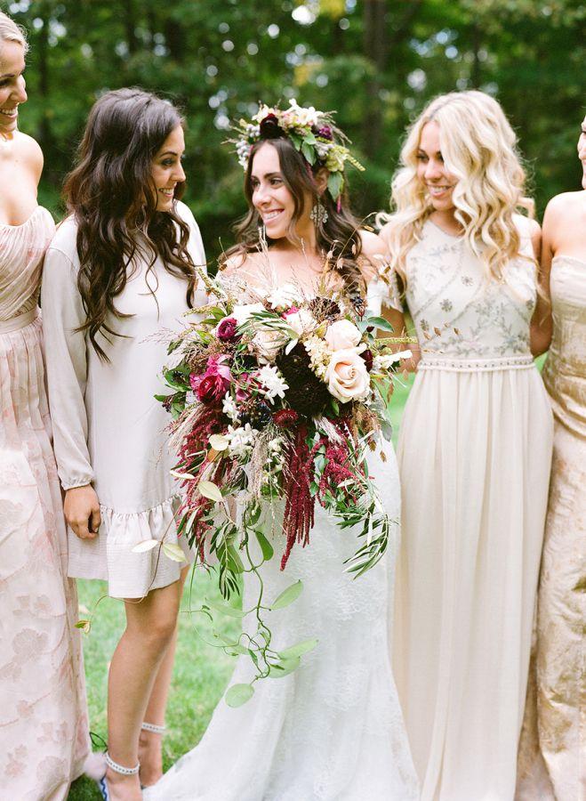 mariee et demoiselles d honneur mariage en automne