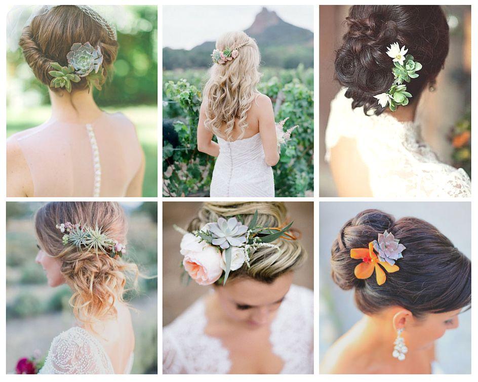 succulentes coiffure mariee