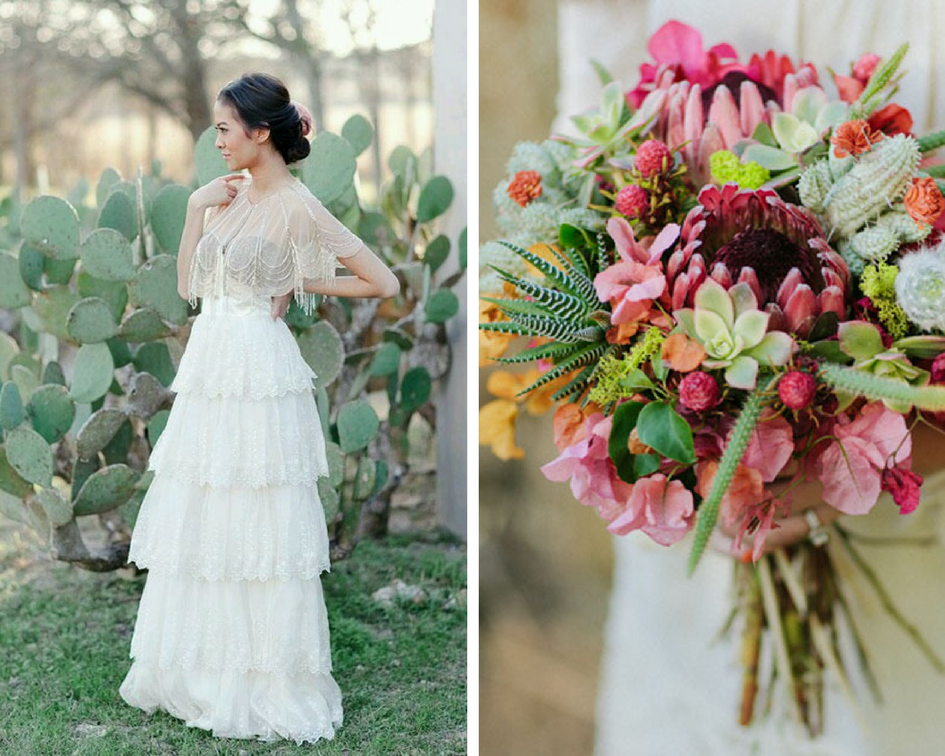 tendance mariage cactus robe bouquet